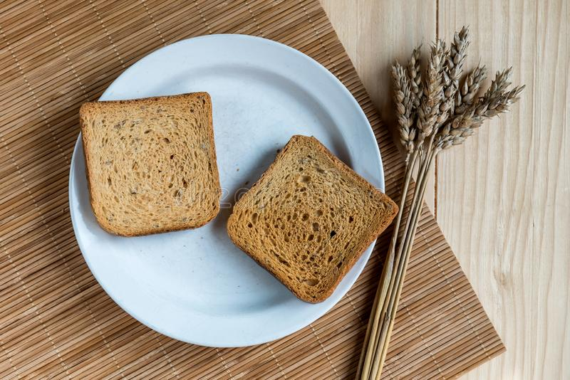 Toast Bread and Ear of Wheat stock images