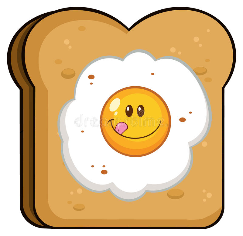 Toast Bread Slice With Smiling Egg Cartoon Character royalty free illustration