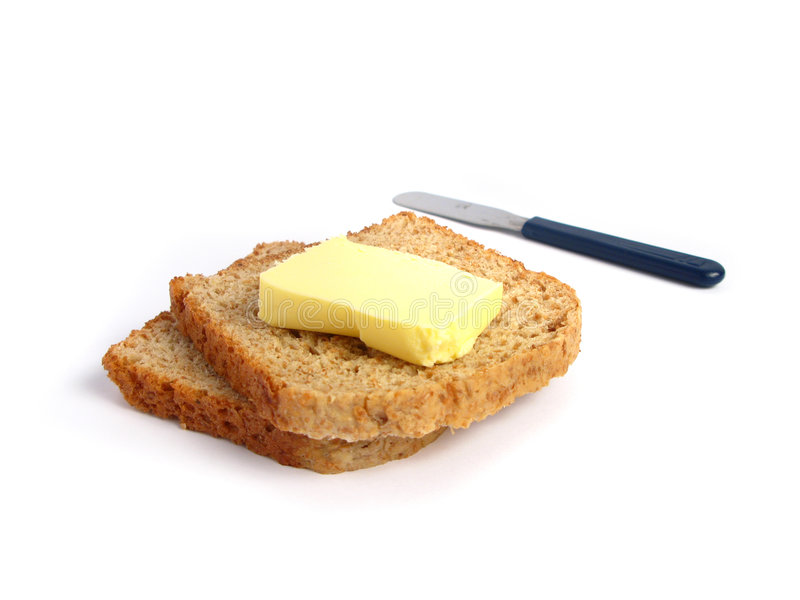 Toast with butter stock image