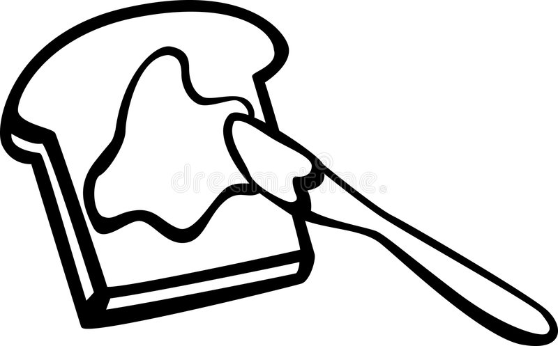 Toast With Butter And Knife Vector Illustration Stock ...