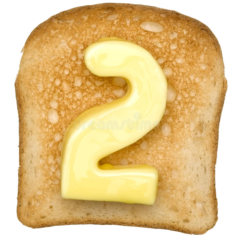 Toast with Butter Number stock image