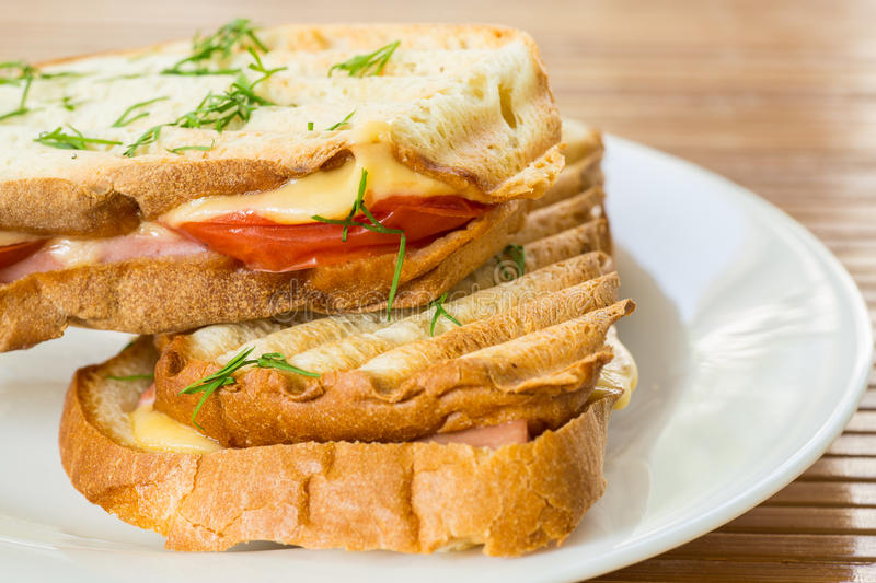 Toast with cheese stock photos