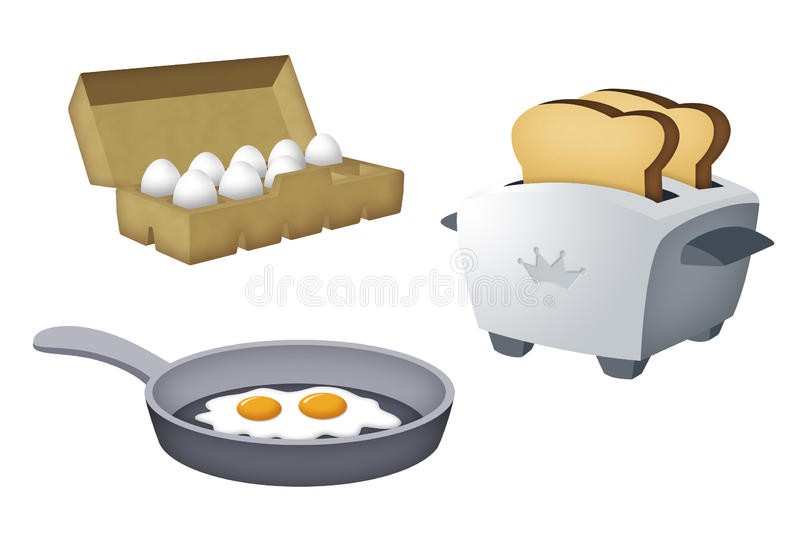 Toast and Eggs. Toaster with toasts, egg tray and frying pan with eggs vector illustration