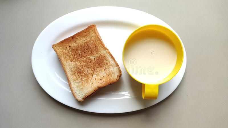 Toast and fresh milk for healthy breakfast. stock photo