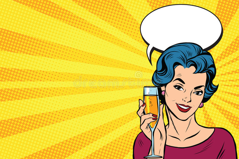 Toast girl party yellow retro background stock illustration