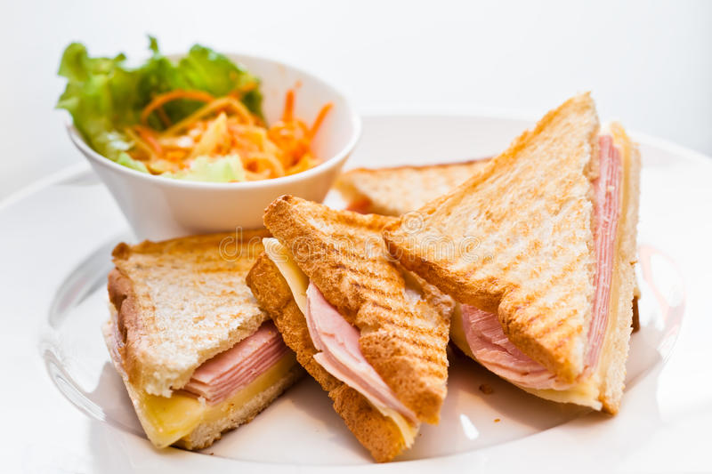 Toast with ham and cheese royalty free stock photo