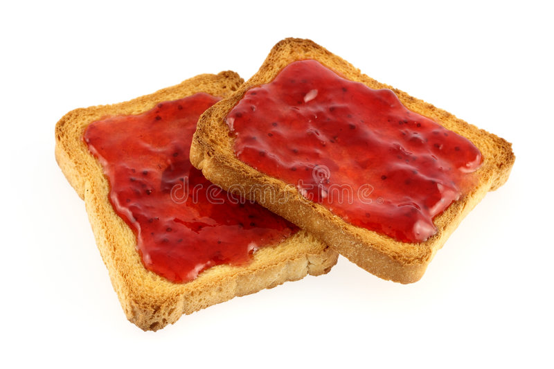 Toast and jam. Isolated on white royalty free stock photography