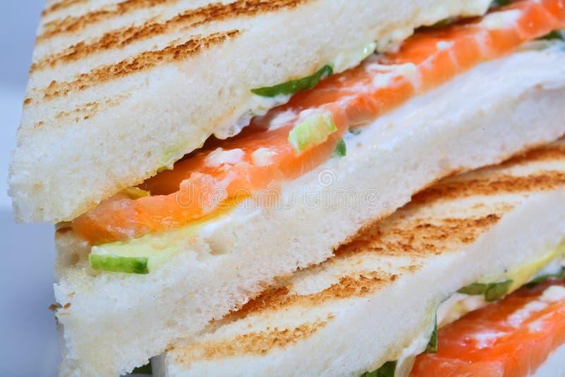 Toast mit Gemüse und Lachsen lizenzfreie stockbilder