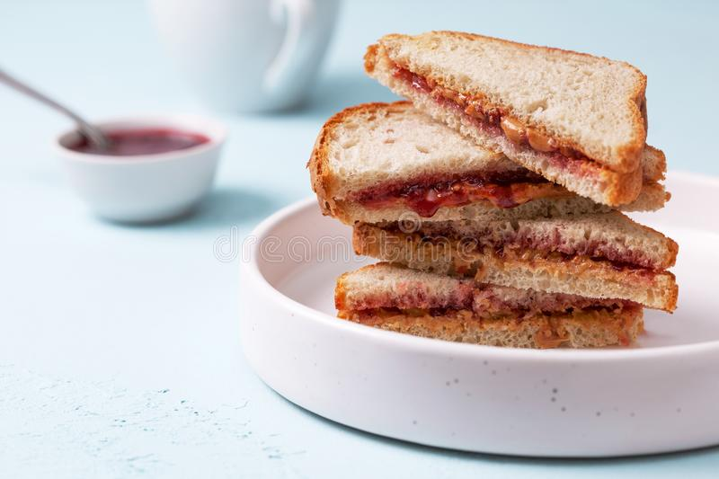Toast with peanut butter and jam royalty free stock photo