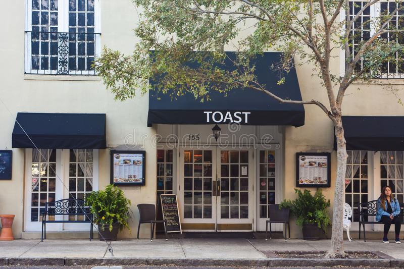Toast Restaurant. Located on Meeting St. in downtown Charleston royalty free stock photos