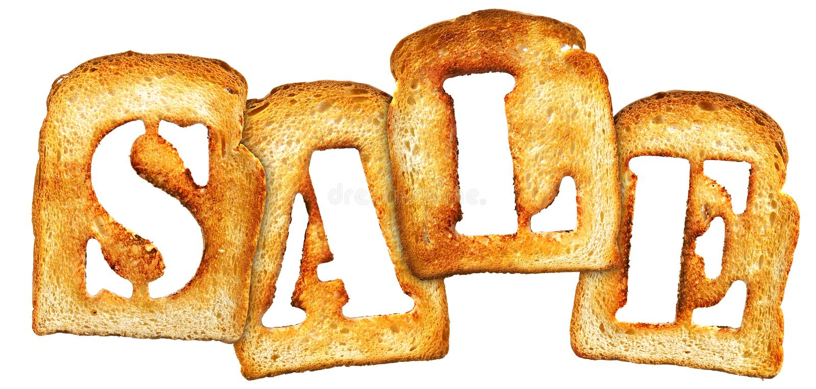 Toast sale. Slices of toast spelling word sale, isolated on white background royalty free stock image