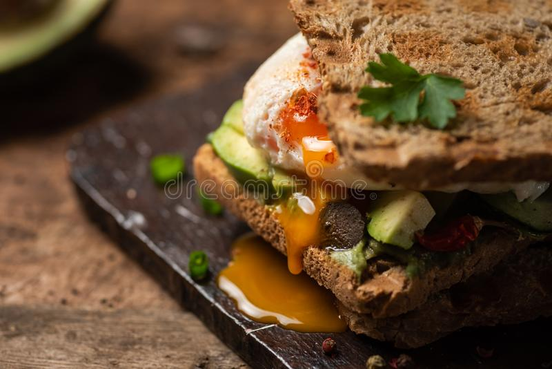 Toast sandwich with fried egg. Fresh toast sandwich with fried egg and avocado, guacamole, toasted, runny, sunny, side, up, close, served, plate, food, snack stock images