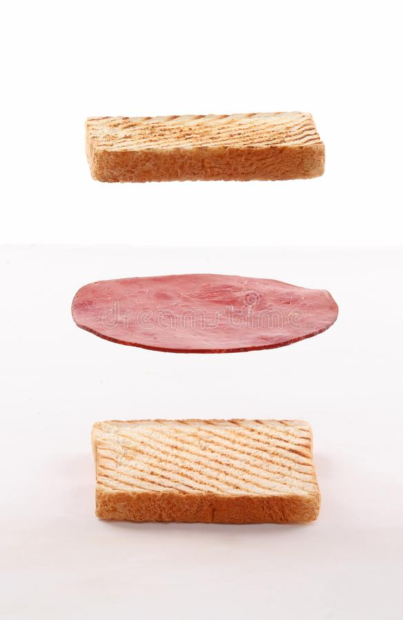 Free Toast Sandwich Layers Fly On White Background Stock Photo - 162547330