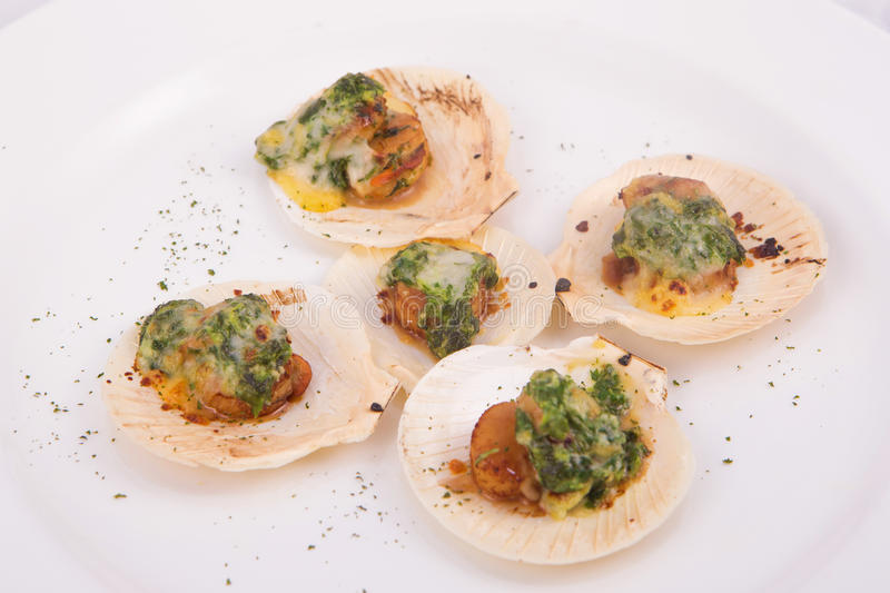 Toast scallops with cheese and spinach stock image