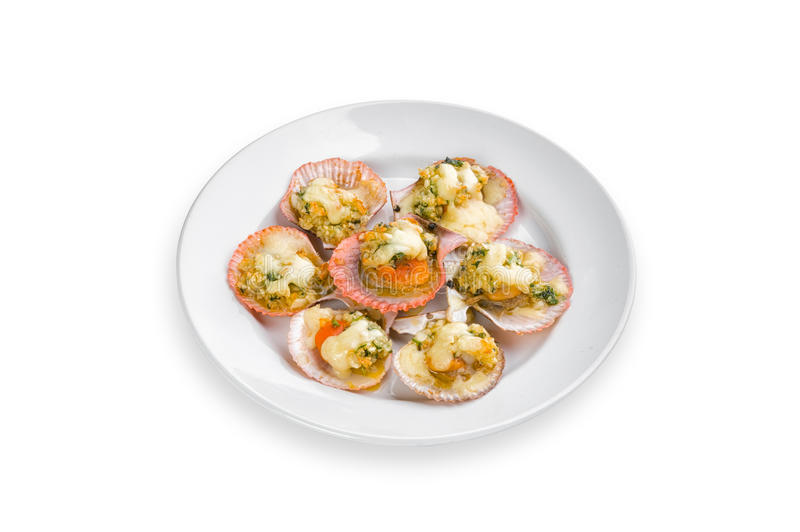 Toast scallops with cheese stock photography