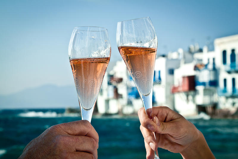 Toast by the sea royalty free stock photo