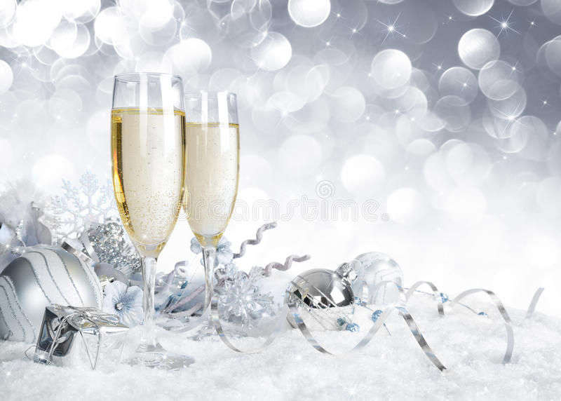 Toast with silver christmas decoration. Toast with christmas decoration - silver sparkle stock images