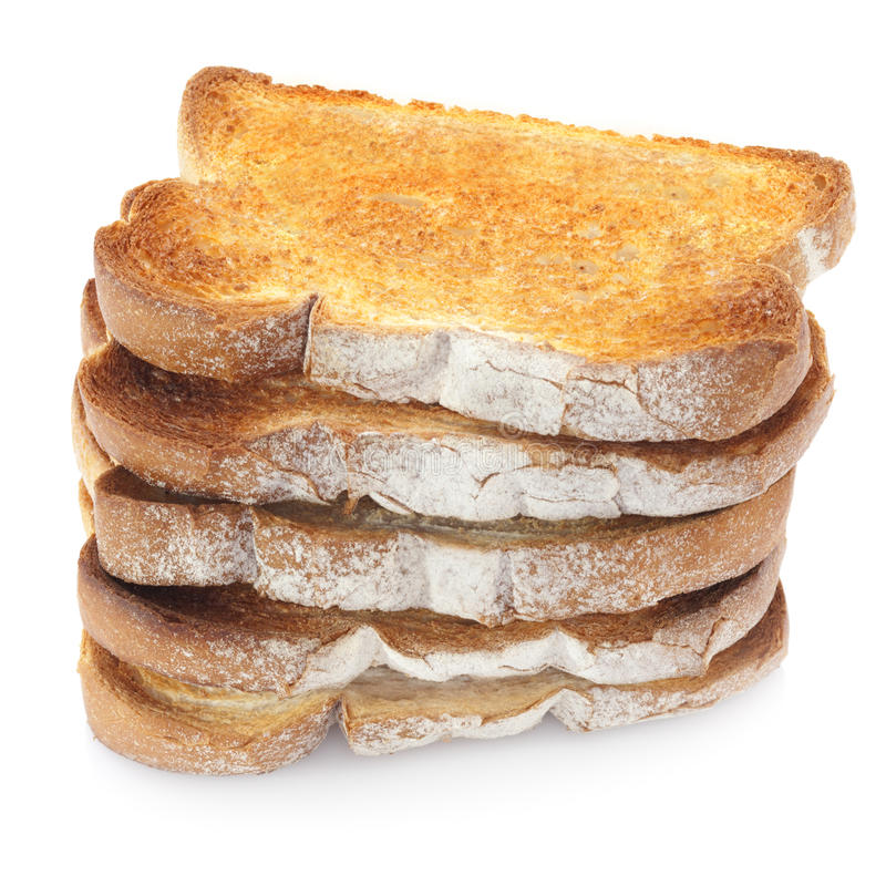 Toast Stack. Five slices of toast in a stack royalty free stock photos