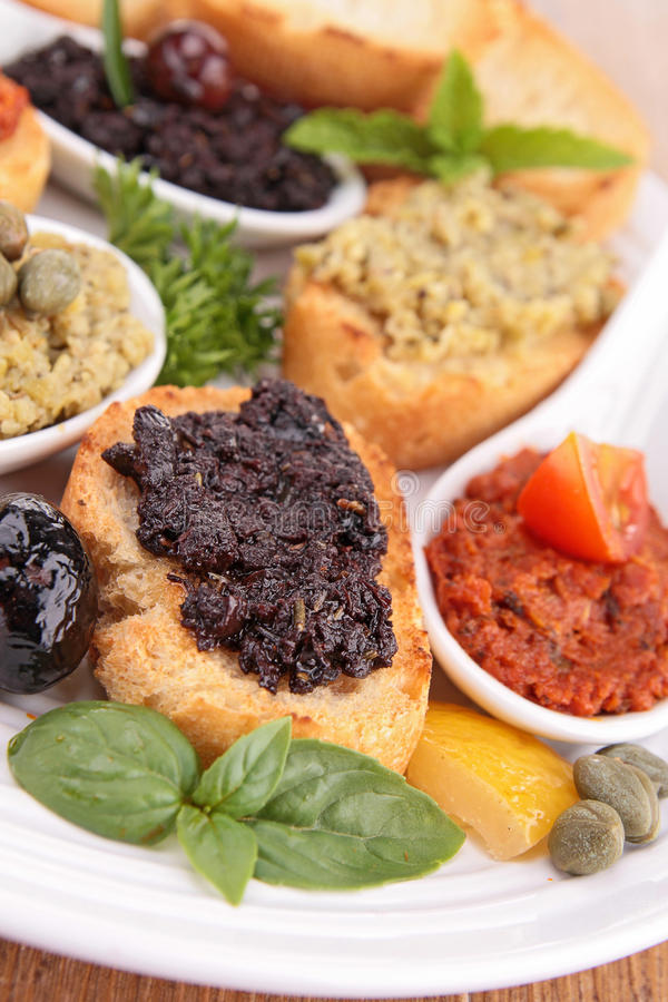Toast with tapenade stock images