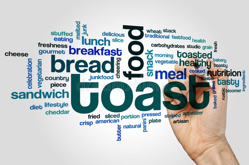 Toast word cloud. Concept on grey background stock photo