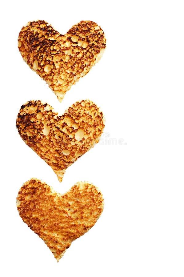 Toastbrot in Form von Herzen lizenzfreies stockbild