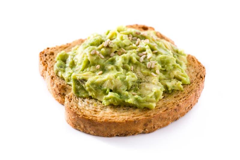 Toastbrote mit den Avocado- und Sesamsamen lokalisiert auf weißem Hintergrund stockbilder