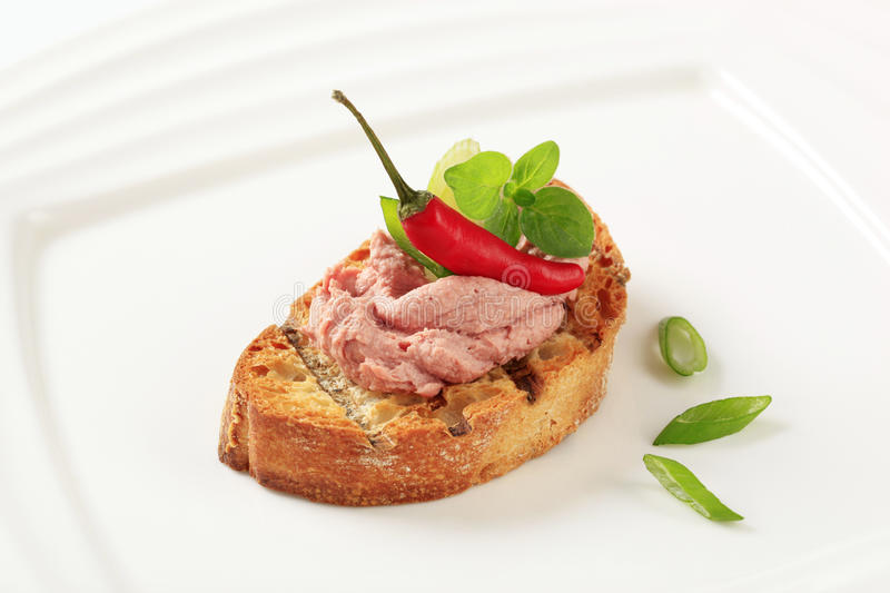 Toasted bread and pate stock images