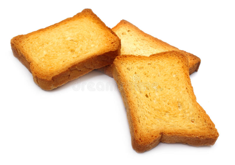 Toasted loaves. Over white background stock images