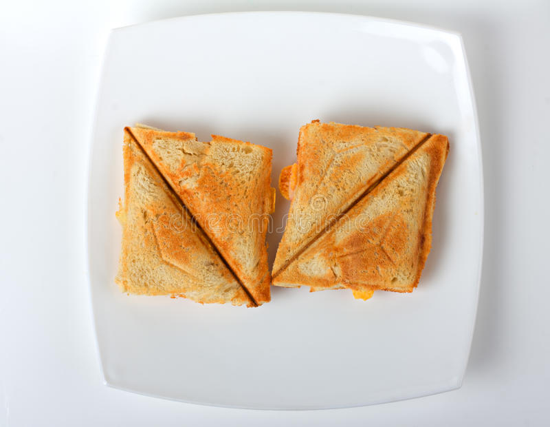 Toasted sandwich on a plate royalty free stock photo