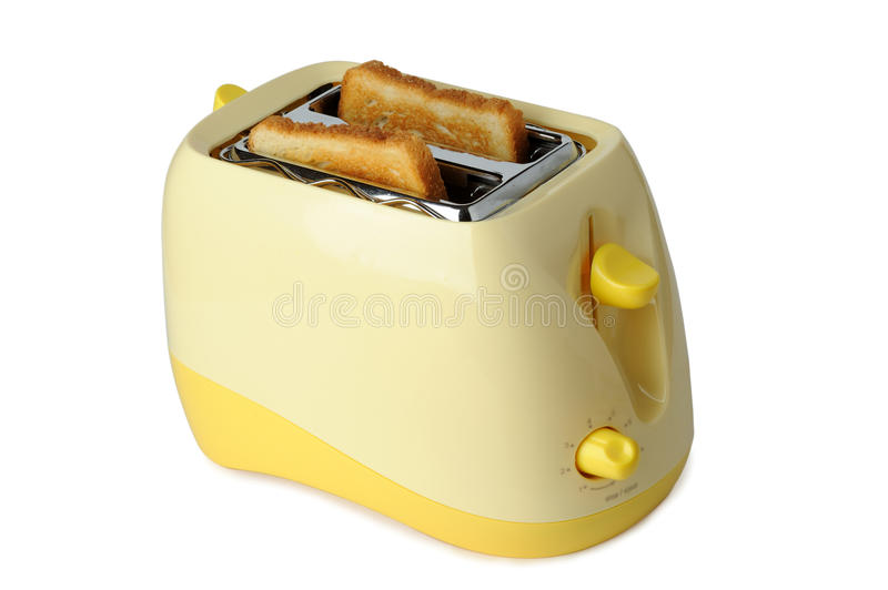 Toaster. Yellow toaster isolated on white stock photos