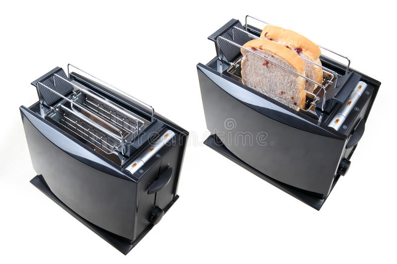 Toaster. Two toaster with slices of bread on white stock photography