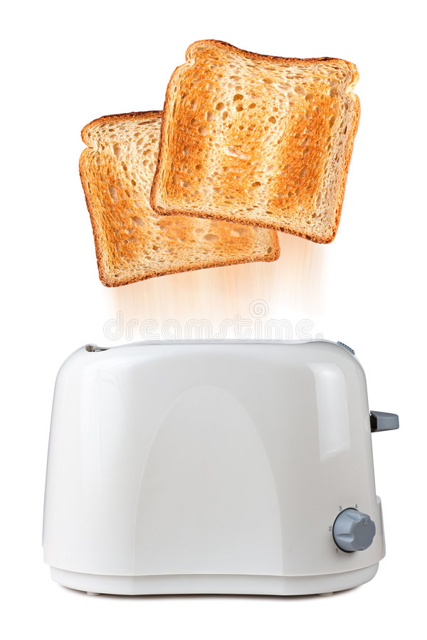 Toaster. Toasts flying out of toaster royalty free stock photo