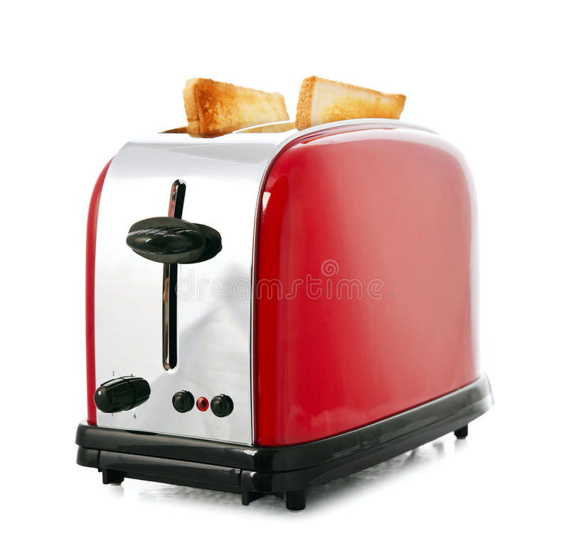 Toaster with bread. Isolated on white background stock photo