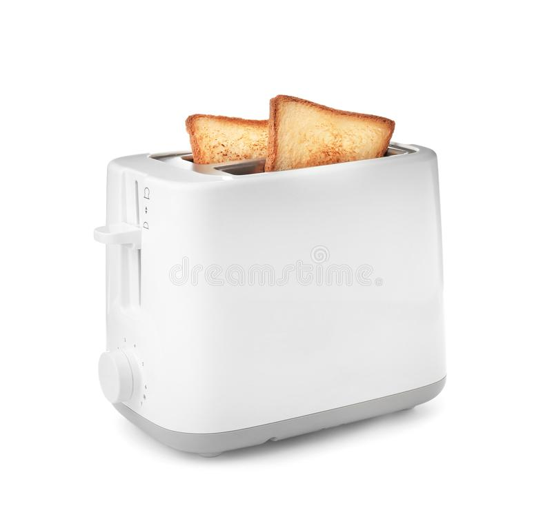 Toaster with bread slices. On white background stock images