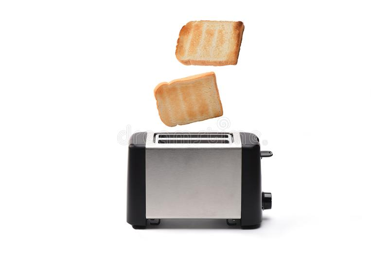 Toaster with bread. On white background royalty free stock images