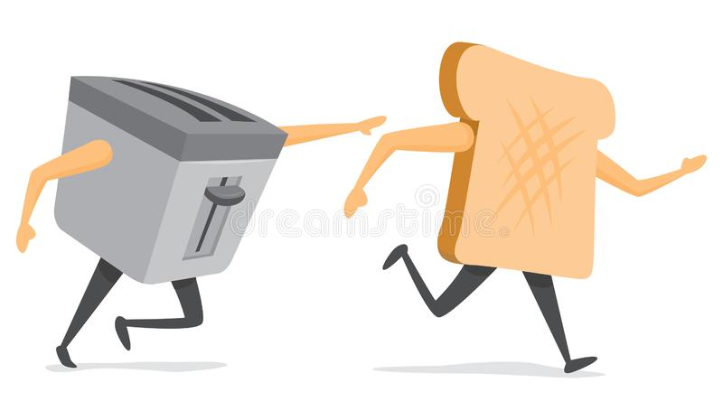 Toaster jagt entgehendes Scheibenbrot vektor abbildung