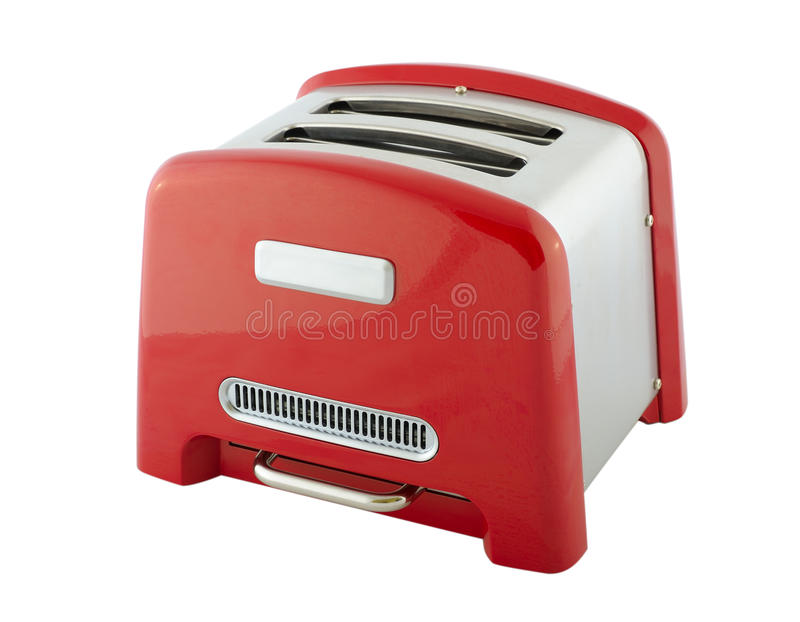 Toaster. Kitchen appliances - toaster of silver and red color, isolated on a white background royalty free stock photo