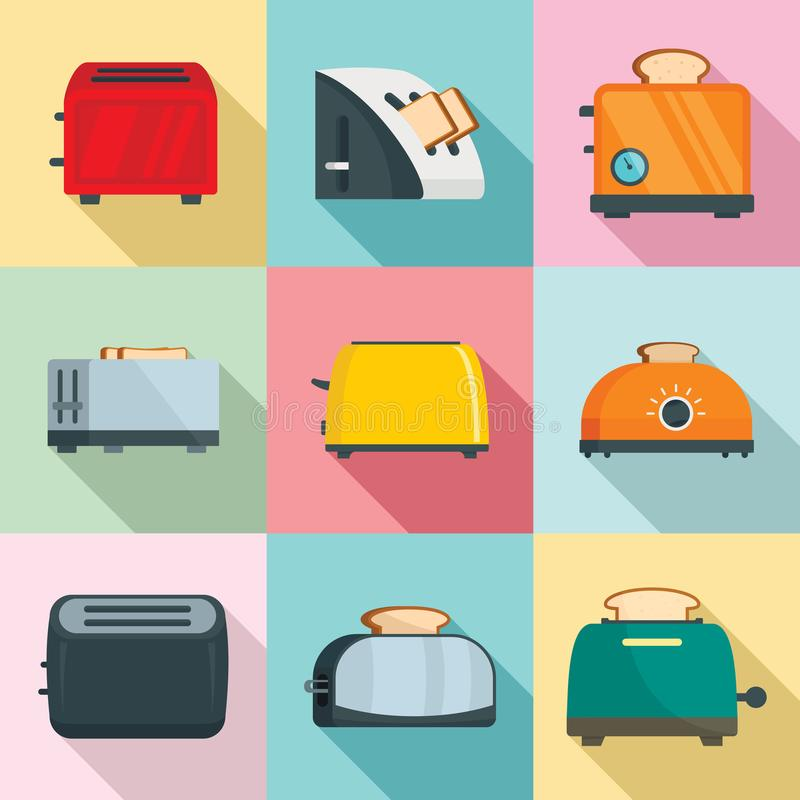 Toaster kitchen bread oven icons set, flat style royalty free illustration