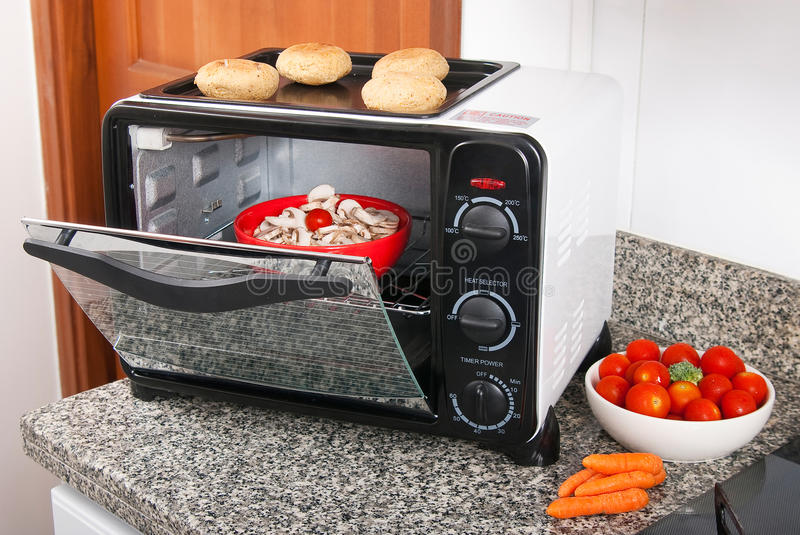 Toaster oven. In the kitchen royalty free stock photography