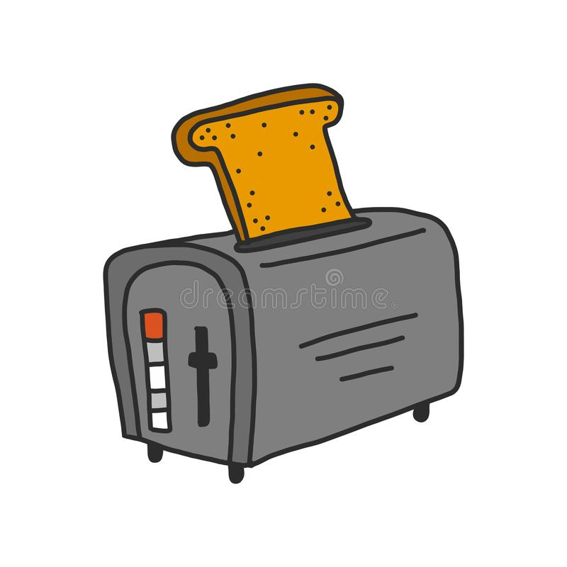 Toaster with toast isolated on hand draw style vector illustration. Gray with ont piece of bread royalty free illustration