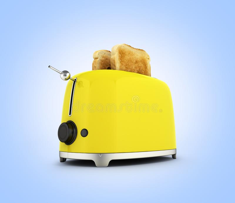 Toaster with toasted bread isolated on blue gradient background Kitchen equipment Close up 3d. Toaster with toasted bread isolated on blue gradient background stock illustration