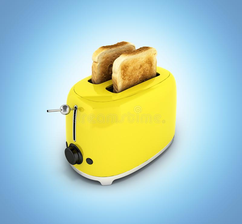 Toaster with toasted bread isolated on blue gradient background Kitchen equipment Close up 3d. Toaster with toasted bread isolated on blue gradient background vector illustration
