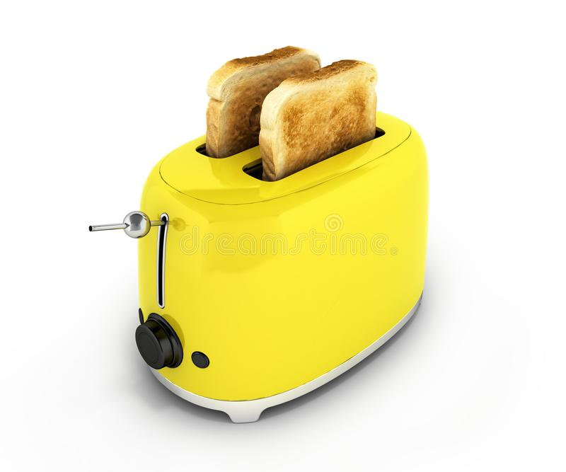 Toaster with toasted bread isolated on white background Kitchen equipment Close up 3d. Toaster with toasted bread isolated on white background Kitchen equipment vector illustration