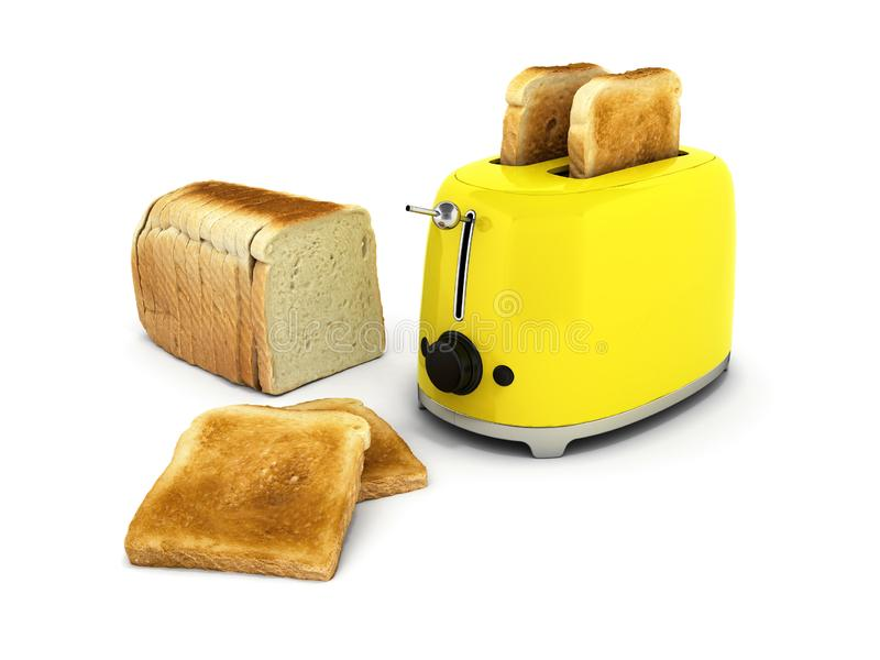 Toaster with toasted bread isolated on white background Kitchen equipment Close up 3d. Toaster with toasted bread isolated on white background Kitchen equipment stock illustration