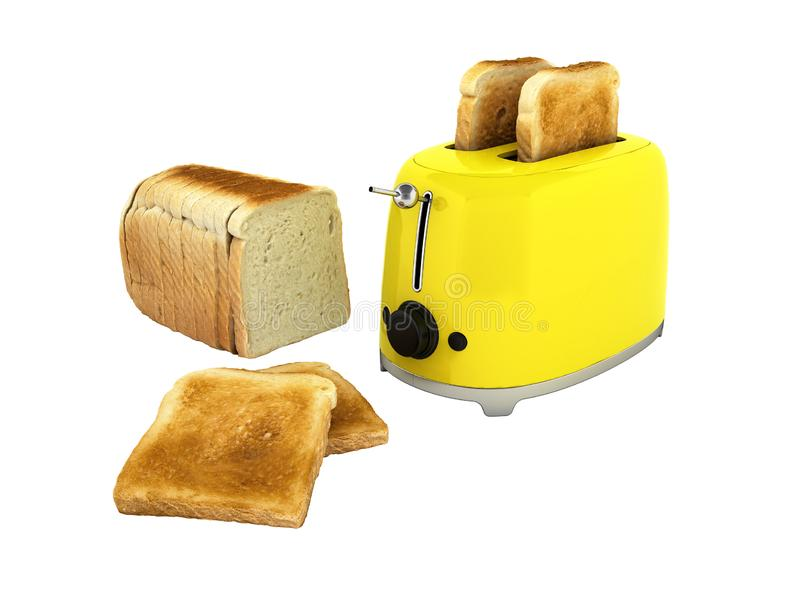 Toaster with toasted bread isolated on white background Kitchen equipment Close up 3d without shadow royalty free illustration