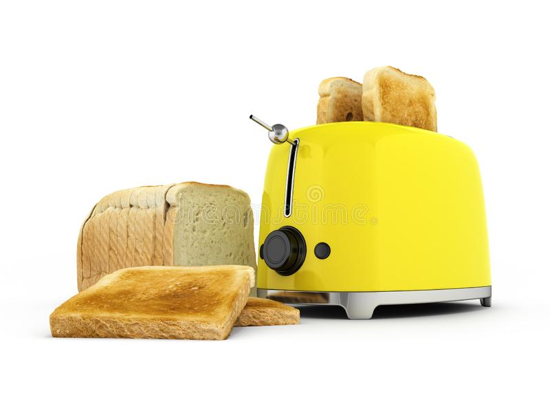 Toaster with toasted bread isolated on white background Kitchen equipment Close up 3d vector illustration