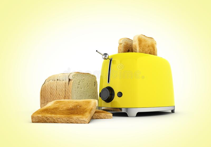 Toaster with toasted bread isolated on yellowgradient background Kitchen equipment Close up 3d. Toaster with toasted bread isolated on yellowgradient background royalty free illustration