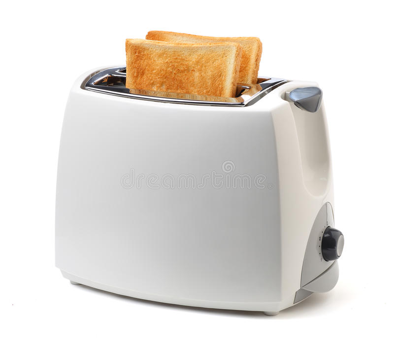 Toaster. And toasts on white background royalty free stock photos