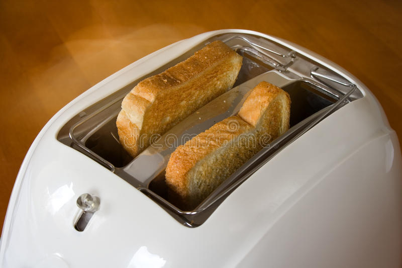 Toaster with two hot toasts. stock photo