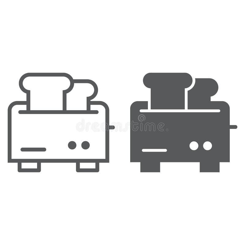 Toasterlinie und Glyphikone, Gerät und elektrisches, Küchengeschirrzeichen, Vektorgrafik, ein lineares Muster stock abbildung